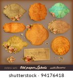 vector set  vintage labels with ... | Shutterstock .eps vector #94176418
