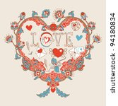 floral heart. heart made of... | Shutterstock .eps vector #94180834