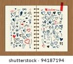 valentine sketch on notebook... | Shutterstock .eps vector #94187194