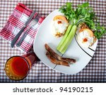 food concept smile; health breakfast with eggs and beacon - stock photo