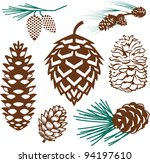 pinecone collection | Shutterstock .eps vector #94197610