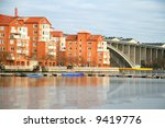 Stockholm residential buildings reflecting on the water - stock photo