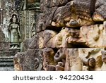 Wall relief within  Angkor Wat Complex in Siem Reap, Cambodia. - stock photo