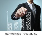 male hand drawing a graph   Shutterstock . vector #94228756