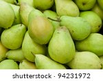 A group of green and fresh pears - stock photo