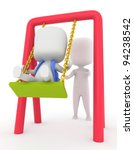 3D Illustration of a Kid Being Pushed on a Swing - stock photo