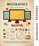 retro vector set of infographic ... | Shutterstock .eps vector #94245661