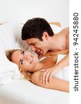 couple has fun in bed. laughter ... | Shutterstock . vector #94245880