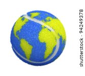 Tennis Ball With World Map...
