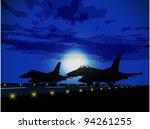 silhouettes of military planes...
