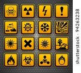hazard symbols orange vectors... | Shutterstock .eps vector #94263238