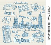London Icons Doodles Drawing...