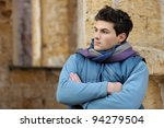 Young stylish man portrait. Outdoor. - stock photo