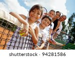 family of tennis players at the ... | Shutterstock . vector #94281586
