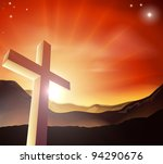 Sun rising behind the Cross over a mountain range. Resurrection Christian Easter concept - stock vector