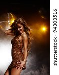 Stock photo portrait of dancing girl on disco party 94303516