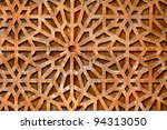 Wood carved ornament on vintage door - stock photo
