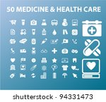 50 medicine   health care icons ... | Shutterstock .eps vector #94331473