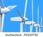 Row Of Wind Power Generators O...