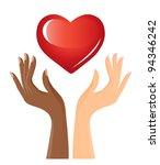 black and white hands with heart | Shutterstock . vector #94346242