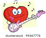 romantic red hear playing a... | Shutterstock .eps vector #94367776