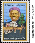 Small photo of USA - CIRCA 1996 : stamp printed in USA show Harriet Tubman African-American abolitionist, humanitarian, black heritage, circa 1996