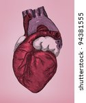 human heart  vintage engraving. ... | Shutterstock . vector #94381555