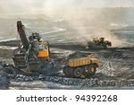 coal mine is risk area.many... | Shutterstock . vector #94392268