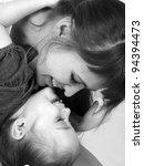 little cute girl hugging her...   Shutterstock . vector #94394473