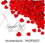 background of red rose petals.... | Shutterstock .eps vector #94395037