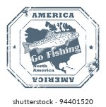 grunge rubber stamp with fish... | Shutterstock .eps vector #94401520