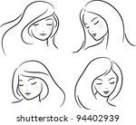 beautiful girls  sketch   set ... | Shutterstock .eps vector #94402939