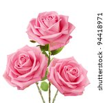Bunch Of Pink Roses Isolated O...
