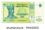 20 leu bill of moldavia  cyan... | Shutterstock . vector #9442003