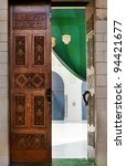 Islamic carved door in the mosque in downtown of Cairo city, Egypt - stock photo