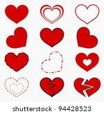 collection of red hearts.... | Shutterstock .eps vector #94428523