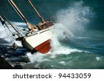 Yacht Crash On The Rocks In...