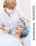 A young girl doing the procedure - stock photo