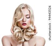 beautiful blonde girl. healthy...   Shutterstock . vector #94443526