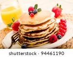 delicious pancakes on morning... | Shutterstock . vector #94461190