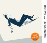 vintage clip art   man relaxing ...   Shutterstock .eps vector #94462300