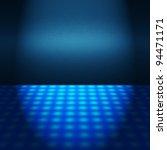 Empty Blue Disco Scene With...