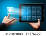 smart hand touch the first aid...   Shutterstock . vector #94476100