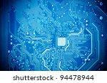 Blue Circuit Board As Abstract...