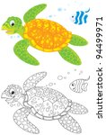 Swimming Marine Turtle And...