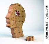 Stock photo a male head build out of puzzle pieces 94513345