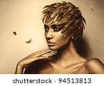 Woman In Gold Feather Hat