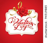 valentine card with rose and...