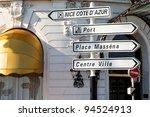 road signpost in nice france...   Shutterstock . vector #94524913