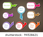 Paper blank vector sticker set in form bubble speech with hand. - stock vector